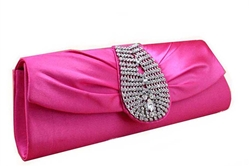 Hot Pink/Fuchsia rhinestone clutch purse handbag