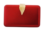Shiny Hard Box Evening Wedding Party Clutch Purse with leaf closure
