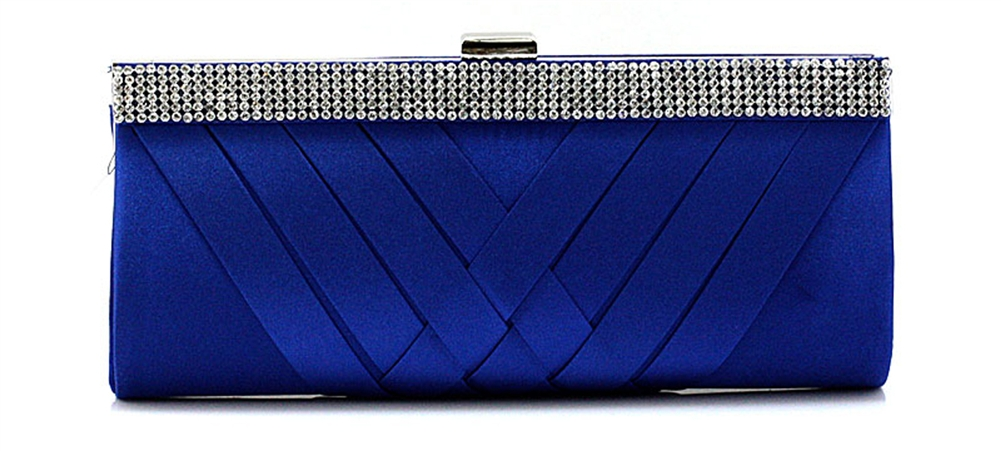 Blue Rhinestones & Satin Wedding Clutch Bag