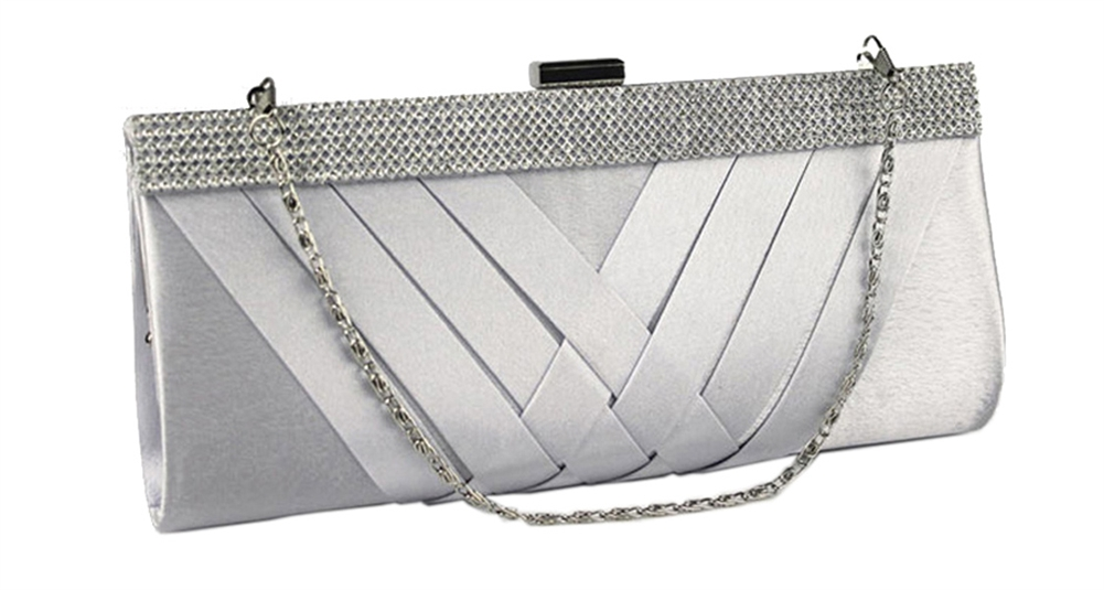 Silver Satin Cocktail Evening Wedding Clutch Purse Bag with Rhinestone