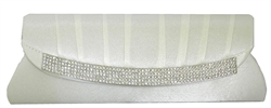 White Satin Wedding Bridal Clutch Purse