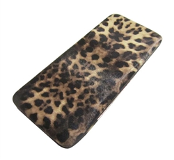 Light Brown Leopard Print Flat Hard Clutch Wallet
