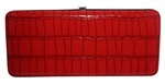 Red Snake Skin Print Leather Flat Hard Clutch Wallet
