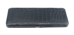 Black Snake Skin Print Leather Flat Wallet