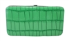 Green Small Snake Skin Print Leather Flat Wallet