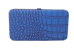 Blue Small Snake Skin Print Leather Flat Wallet