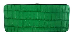 Green Long Snake Skin Print Leather Flat Wallet