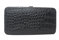 Black Small Snake Skin Print Leather Flat Wallet