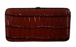 Brown Small Snake Skin Print Leather Flat Wallet