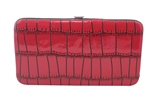 Red Small Snake Skin Print Leather Flat Wallet