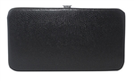 Black Snakeskin Print Small Flat Hard Clutch Wallet