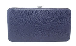 Navy Blue Snakeskin Print Small Flat Hard Wallet