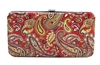 Red Paisley Print Small Flat Hard Clutch Wallet