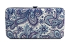 Purple Paisley Print Small Flat Hard Clutch Wallet