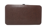 Brown Snakeskin Print Small Flat Clutch Wallet