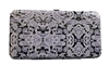 Black Paisley Print Small Flat Hard Clutch Wallet