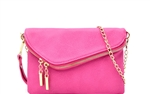 Flap Over Zip Pocket Metal Chain Shoulder Strap Clutch Purse