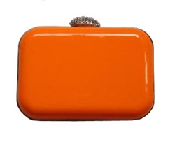 Neon Orange Hard Case Evening Clutch Purse