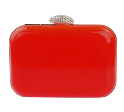 Neon Red Hard Case Evening Clutch Purse