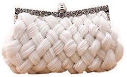 Off White Bridal Pleated Clutch bag