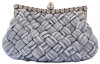 Grey Evening Pleated Clutch bag