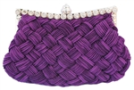 Purple Pleated and braided Rhinestone studded Wedding Evening Clutch Purse Bag