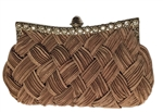 Tan Bridal Pleated Clutch bag