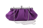 Purple Cocktail Bridal Wedding Clutch Purse with Rhinestones