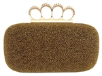 Gold Metallic Rhinestone Duster Knuckle Clutch
