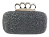 Dark Gray Metal Rhinestone Duster Knuckle Clutch