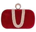 Red One Ring Duster Knuckle Evening Clutch Bag