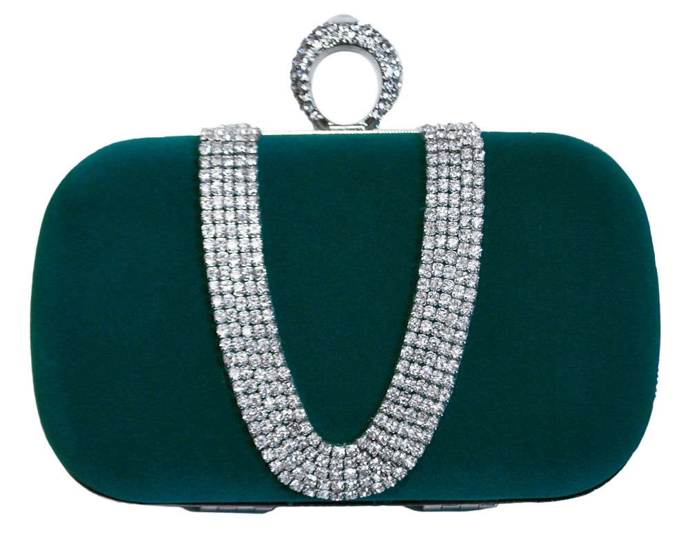 c634711ce40 Green Suede Duster Knuckle Evening Clutch