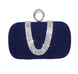 Royal Blue Suede Duster Knuckle Evening Clutch