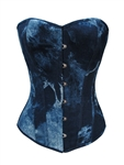 Blue Denim Strong Boned Bridal Corset Lace Up