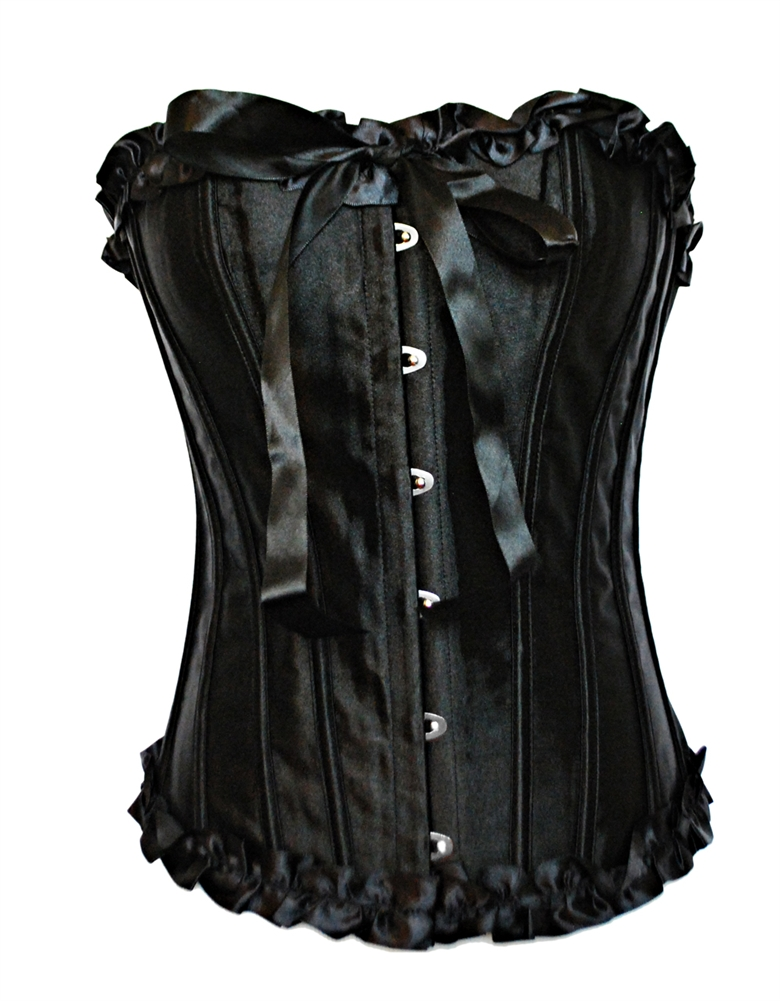 3f6c5caf68c Satin Ruffle Bustier Corset With Strong Boning