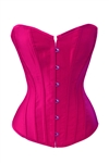 Hot Pink Satin Lace Up Sexy Strong Boned Corset