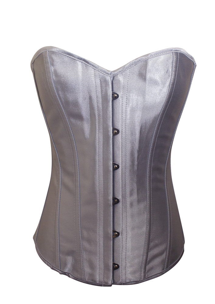 b4384242d85c4 Silver Satin Lace Up Strong Boned Corset