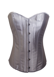 Silver Satin Lace Up Strong Boned Corset