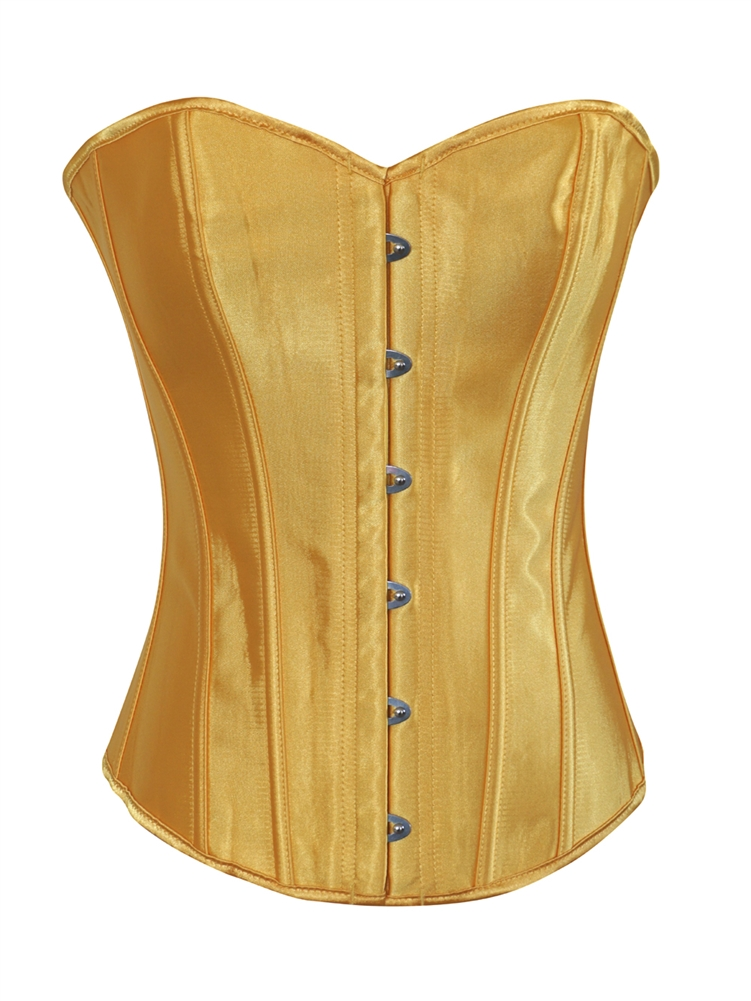 79e87567d55f8 Yellow Satin Lace Up Strong Boned Corset