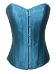 Sky Blue Satin Lace Up Strong Boned Corset