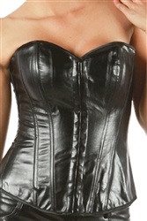 Sexy Faux Patent Leather Corset Lace Up Bustier