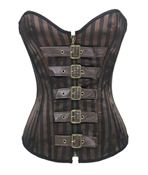 Brown Goth Steel Boned Brocade Vintage Corset