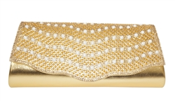 Patent Leather Rhinestone & Pearl Decor Wedding Cocktail Clutch Purse