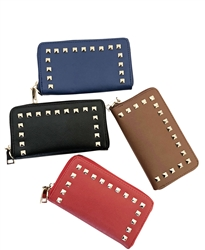 Chicastic Zip Around Stud Accent Saffiano Leather Wallet