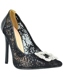 Lace Rhinestone Crystal Brooch High Heel Pumps
