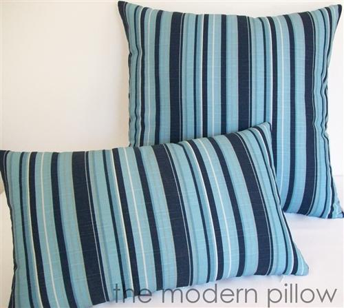 20x20 Navy Blue Light Blue Gray Beachside Stripe Decorative Throw