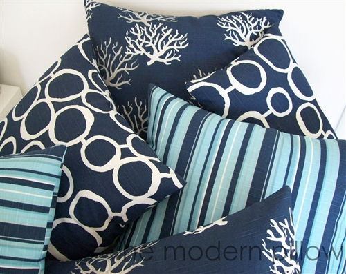 20x20 Navy Blue Light Gray Beachside Stripe Decorative Throw Pillow Cover Cushion