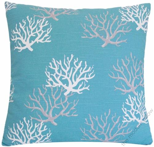"20x20"" Aqua Blue Gray White Coral Decorative Throw Pillow Cover"