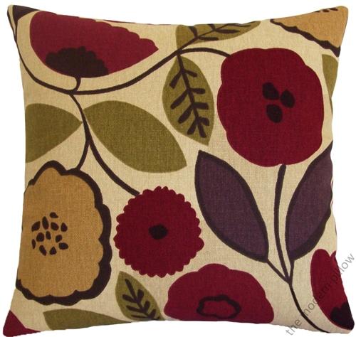 18x18 Quot Chianti Bloom Red Green Purple Dark Brown Tan