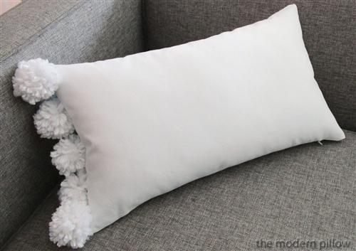 """12x20"""" White Organic Pom Pom Decorative Throw Pillow Cover Cushion"""